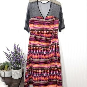 Kiyonna Sunset Stripe Mesh Dress  Size 10/12